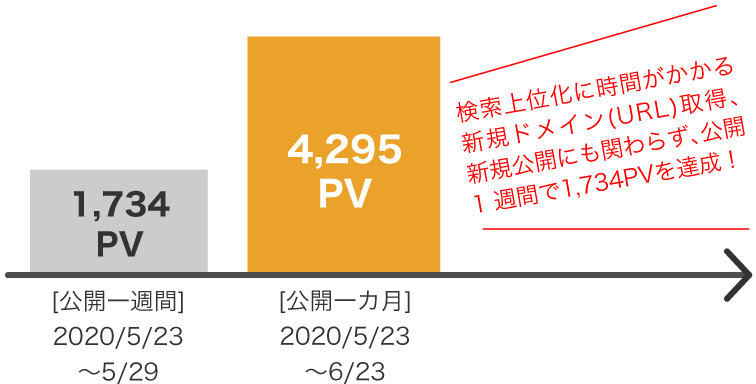 初月のPV数は4000PV